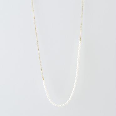 ライスパール小波チェーンネックレス /  Rice pearl and facet chain Necklace