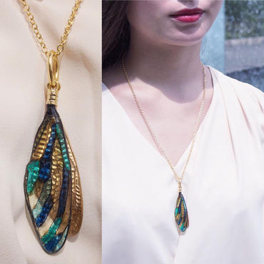 【蝉】Cicada Long Necklace - Layered Gold Blue -
