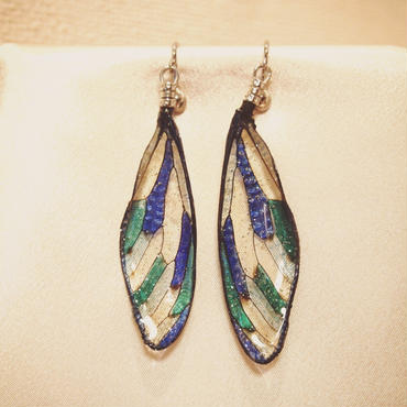 【蝉】Cicada  Earring - Stained Glass Blue -