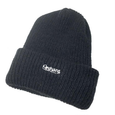 ORCHARD / SCRIPT EMBROIDERED BLACK KNIT BEANIE