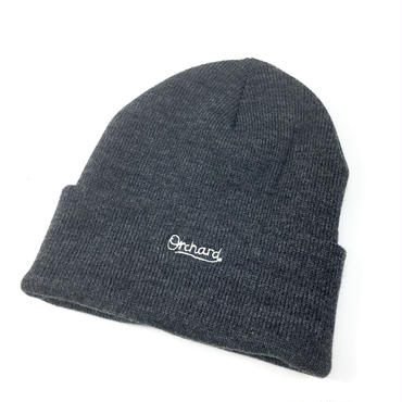 ORCHARD / SCRIPT EMBROIDERED GREY KNIT BEANIE