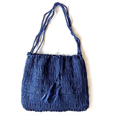 和紙の縄文編みショルダーバッグMサイズ(ブルー)【10605】
