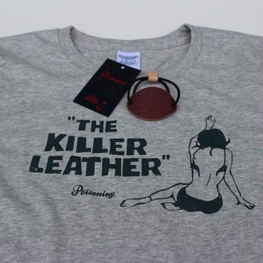 POISONIVY Original T-Shirt 「The KILLERLEATHER」with Vintage HairBracelet〈Women's/MixGray〉