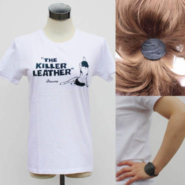 THE KILLER LEATHER Original T-Shits  with Vintage HairBracelet〈Women's/White〉