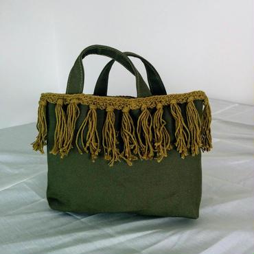 Fringe small tote (Khaki)