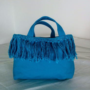 Fringe small tote (Turquoise)