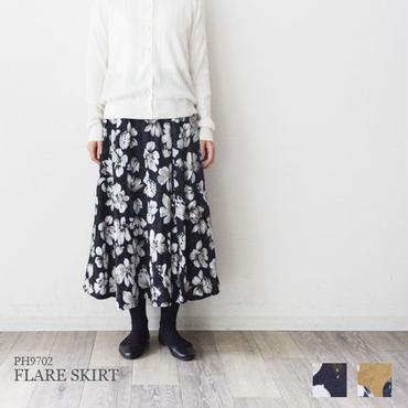 花柄プリント・タックフレアースカート(PH9702)