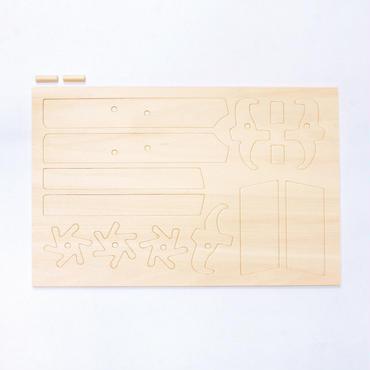 連発輪ゴム鉄砲専用 型抜きパーツ(丸棒2本付)