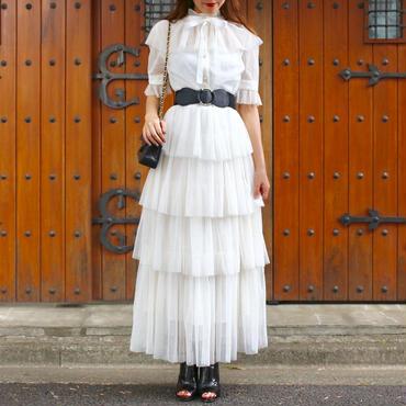 ラメシースルードレス インナー&リボン付き ブラック ホワイト