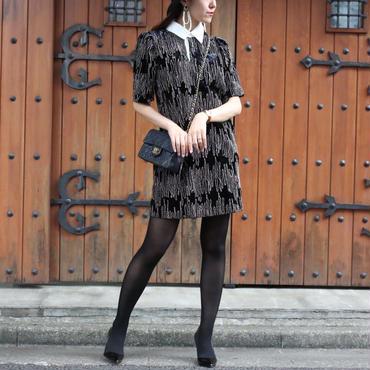 【FALL WINTER COLLECTION】ベロアデザインワンピース ブラック