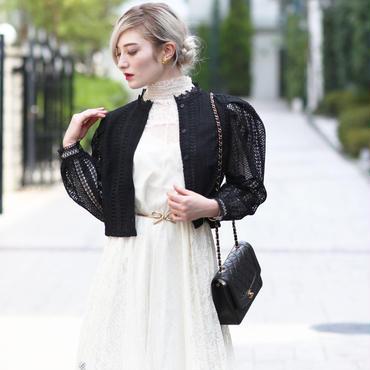 【pour Mademoiselle】デザインレースブラウス ブラック
