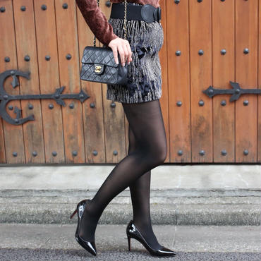 【FALL WINTER COLLECTION】ベロアデザインミニスカート ブラック