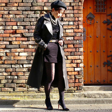 【pour Mademoiselle】リアルレザーロングコート ブラック