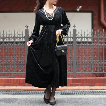【pour Mademoiselle】ベロアVレースワンピース ブラック