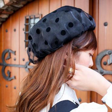 ドットシースルーベレー帽 ブラック