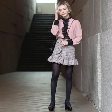 【pour Mademoiselle】チェックフリルミニスカート ネイビー/ピンク