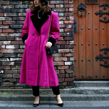 YvesSaintLaurent ウールベロアロングコート ピンク ブラック