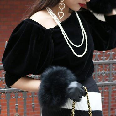 【pour Mademoiselle】ベロアワンショルダートップス ブラック