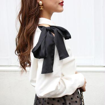 【pour Mademoiselle】ショルダーリボンシャツ ブラック/ホワイト