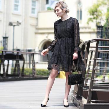 【pour Mademoiselle】ドットシースルーワンピース ブラック