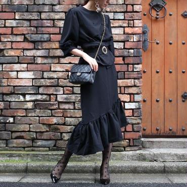 ブラウス&スカート セットアップ ベルト付き ブラック