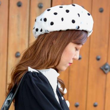 ドットシースルーベレー帽 ホワイト