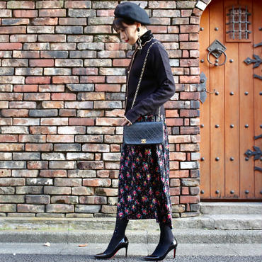 【pour Mademoiselle】ベロアフラワースカート ブラック/ホワイト