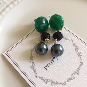 vintage jet green marble pierce