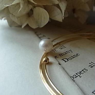 wire akoya pearl  bangles:triple