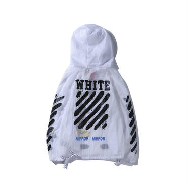 OFF-WHITE(オフホワイト)◆春夏カップル 薄手 快適 メンズ/レディース野外活動日焼け止め服 男女兼用