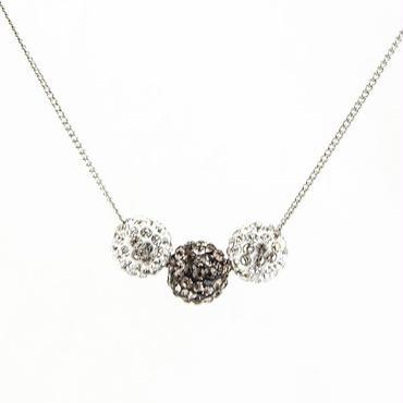 ラインストーンパヴェネックレス3玉 クリスタル&ブラックダイヤモンド
