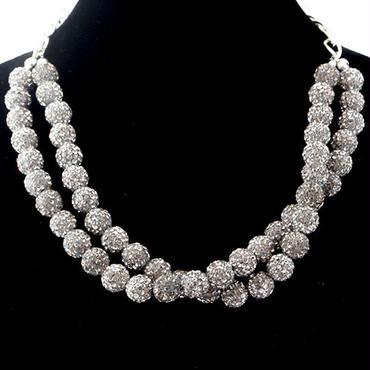 ラインストーンパヴェネックレス2連 ブラックダイヤモンド