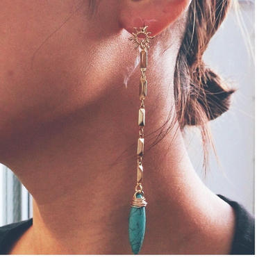 sun turquoise long pierce