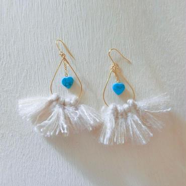 turquoise heart fringe pierce- beige-