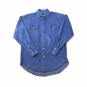 【USED】Wrangler DENIM western shirt ライトインディゴ M
