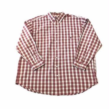 【USED】POLO RALPH LAUREN PLAID shirt レッド×ホワイト XXL