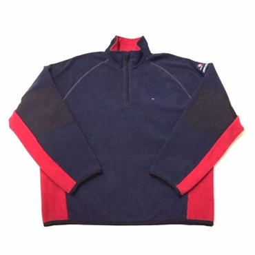 【USED】TOMMY HILFIGER FLEECE pullover ネイビー×レッド XXL