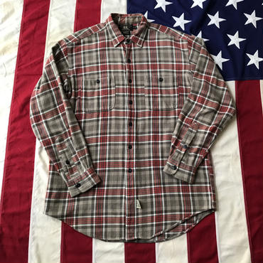 【USED】90s RRL Flannel shirt レッド×ベージュ M