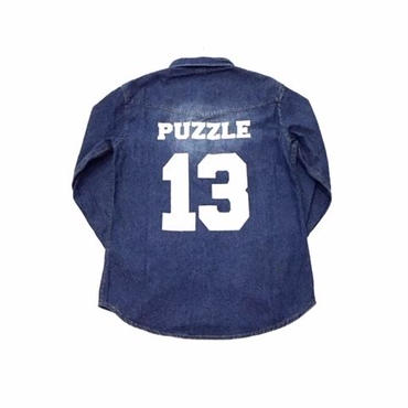 【ラス1】PUZZLE DENIM western shirt ライトインディゴ L