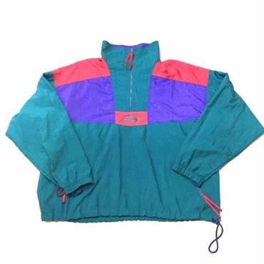 【USED】Columbia nylon pullover jacket グリーン×レッド×パープル L