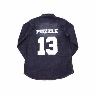 【ラス1】PUZZLE DENIM western shirt ワンウォッシュ M