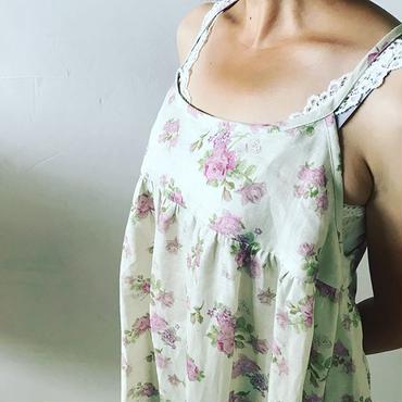 リネン Rose&butterfly ロングキャミワンピース