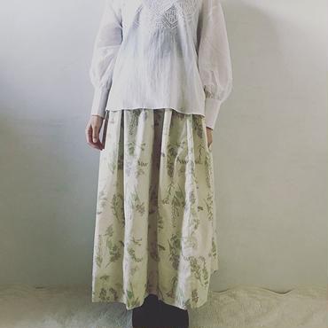 【受注商品】plants&butterflyギャザースカート ラベンダー(裏地シルクコットン)