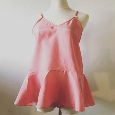 シルクコットンフレアキャミソール pink