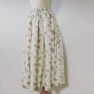 Rose&butterflyリネンギャザースカート(裏地ヘンプ)