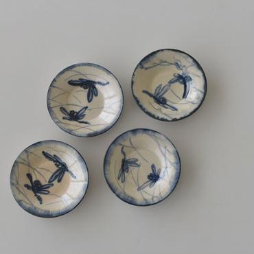 古道具部 草に蜻蛉 染付4寸皿  4枚セット