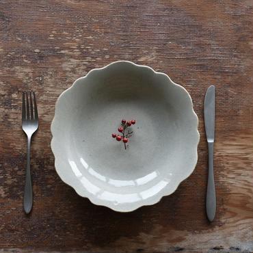 たくまポタリー 芙蓉 8寸皿 やわグレー