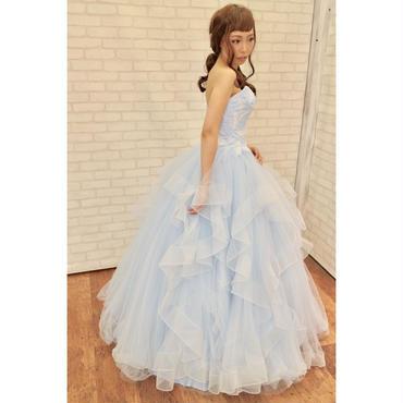 フェザー刺繍アイスブルーカラードレス