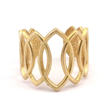 Raw Brass Adjustable Ring / Oval Continuous