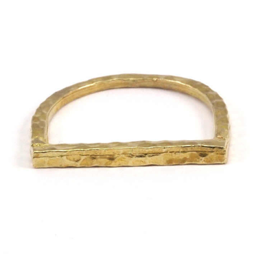 Raw Brass Adjustable Ring / Hammered D
